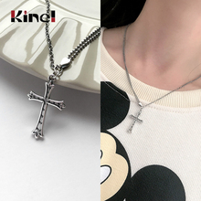 Kinel 925 Sterling Silver Cross Jesus Necklace Fashion Silver 925 Chain Necklaces Ladies Wedding Jewelry special brand fashion clever maxi necklace 925 sterling silver necklaces