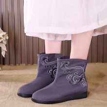 Lace Up Boots Wedge Shoes Clogs Platform Booties Ladies Boots-women Round Toe Low Heels booties Padded Autumn Mid Calf 2019(China)