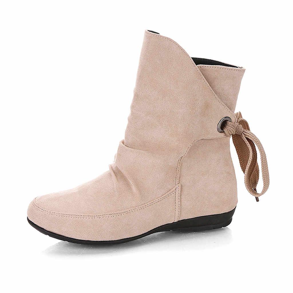 Kadın akın peluş taban kar botları sonbahar kış bayanlar ayakkabı kadın Lace Up toka roma ayak bileği kısa çizmeler chaussures femme