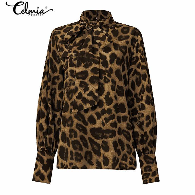 Celmia moda leopar baskı kadın bluzlar 2020 zarif papyon fener kollu ofis bayanlar sonbahar rahat balıkçı yaka gömlek