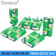 Turmera 3S 18650 VTC6 12.6V 4S 16.8V 5S 21V 6S 25V US18650VTC6 3000mah bateria 30A dla baterii śrubokręt Shurika (dostosuj)