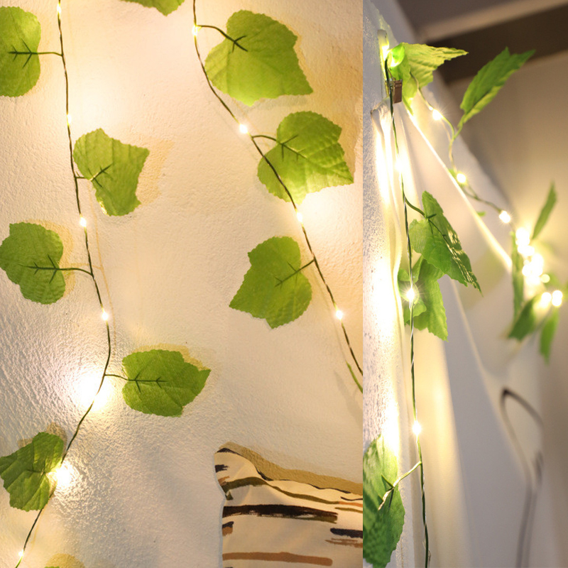 Artificial Grape Ivy Leaf Fairy Flexible String Holiday Lighting Home Party Camping DIY Decoration 2M 20Leds AA Battery Power