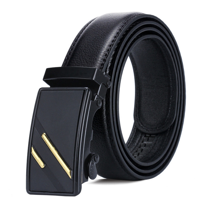 Men's BLACK Automatic Buckle Belt Young People Black Simple Buckle Highgrade Luxury Business Belt Ceinture Homme