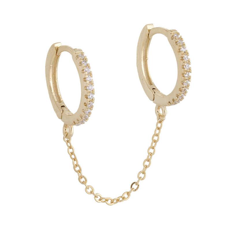 1 stücke Gothic Punk Handschellen kette Ohrringe echt 925 Silber europäischen stud Ohrringe link kette für Frauen/Mädchen A30