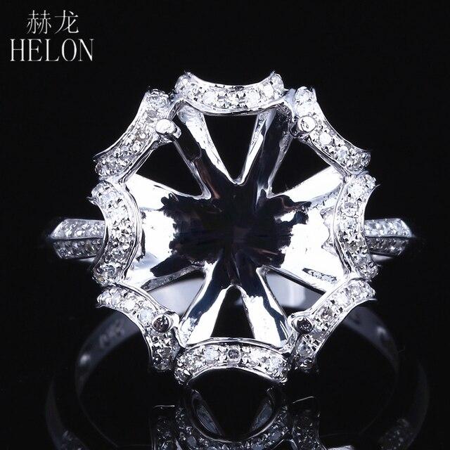 هيلون 10X12 مللي متر البيضاوي الصلبة 14K الذهب الأبيض AU585 0.3ct الماس الطبيعي النساء الزفاف غرامة مجوهرات فريدة من نوعها خاتم بدون فص الإعداد