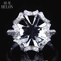HELON 10X12mm Oval Solid 14K White Gold AU585 0.3ct Natural Diamond Women Wedding Fine Jewelry Unique Semi Mount Ring Setting