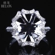 HELON 10X12mm Oval Solide 14K Weiß Gold AU585 0.3ct Natürliche Diamant Frauen Hochzeit Edlen Schmuck Einzigartige semi Mount Ring Einstellung