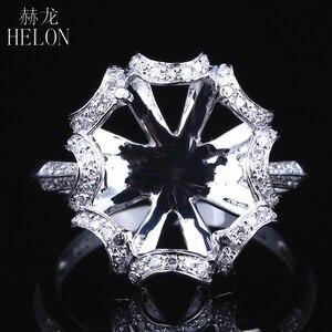 Image 1 - HELON 10X12mm óvalo sólido 14K oro blanco AU585 0.3ct diamante Natural mujeres boda joyería fina única Semi montaje anillo