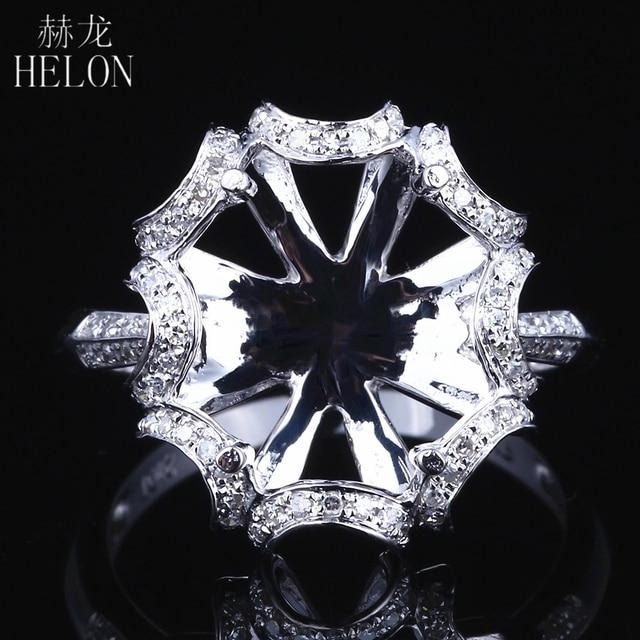HELON 10X12mm óvalo sólido 14K oro blanco AU585 0.3ct diamante Natural mujeres boda joyería fina única Semi montaje anillo