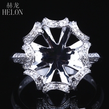 Helon 10X12 Mm Oval Solid 14K White Gold AU585 0.3ct Natuurlijke Diamant Vrouwen Bruiloft Fine Jewelry Unieke semi Mount Ring Instelling