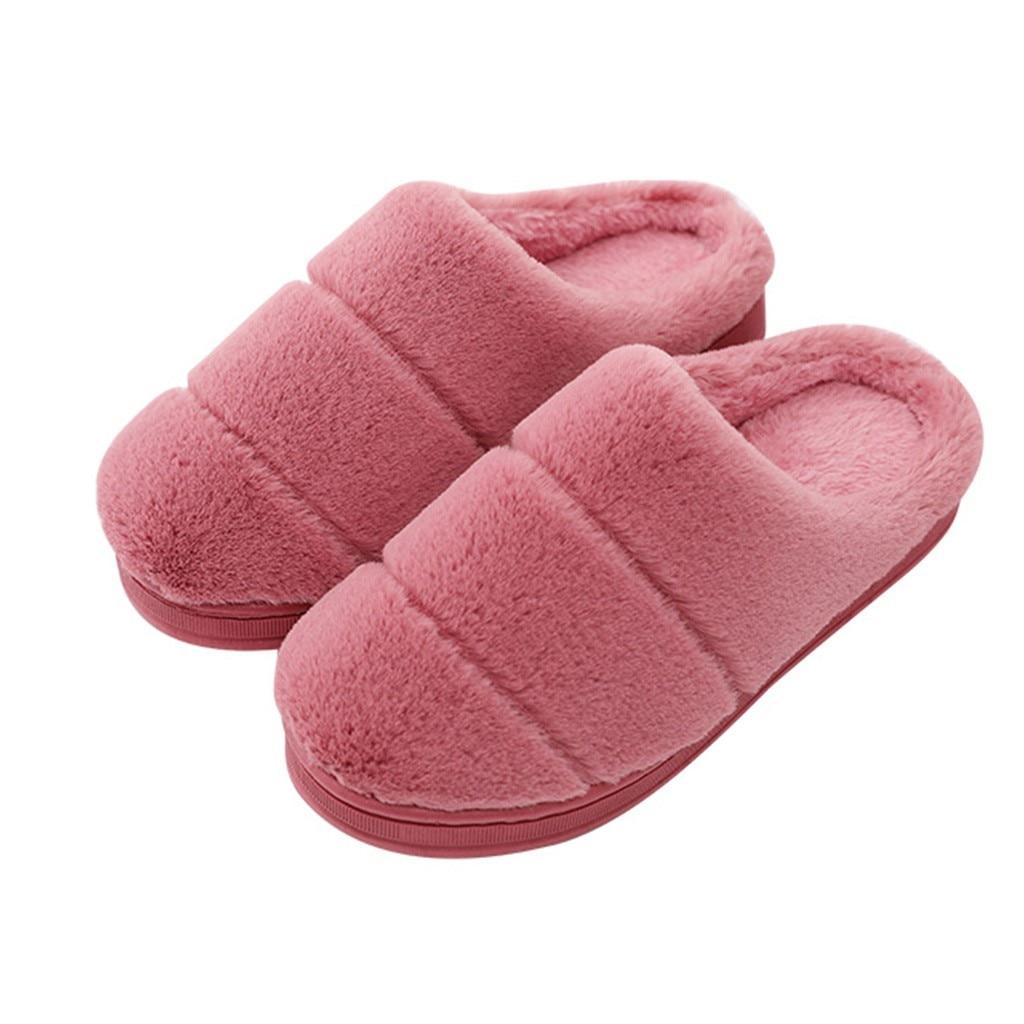 H4bb3c56fdcfb4e7b9ca6b555682358fbC Pantufa masculina e feminina, chinelo de pelo e listrado para casa, inverno 2020 sapatos pantufa