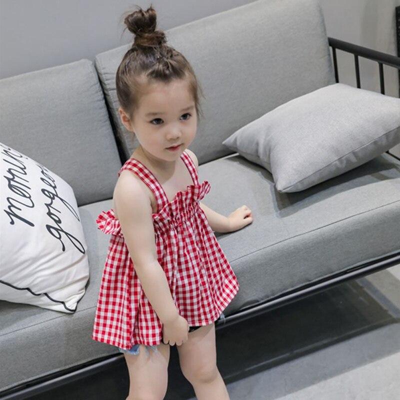 2019 A new Korean version of children's dress in summer version of girls' sling kids