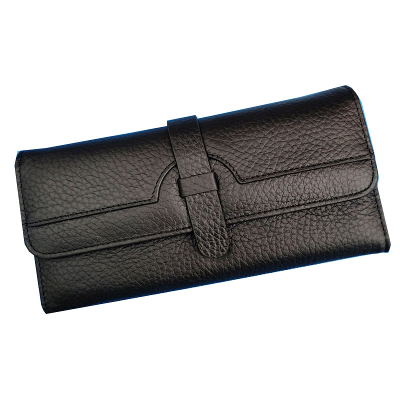 100%  Lychi Cowhide Leather Wallet Women Trifold Long Genuine Leather Clutch Purse Hasp Female Cellphone Bag Girl Card Holder|cowhide leather wallets|leather wallet|leather wallet women - title=