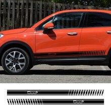 2pcs Car Long Side Stripes Stickers DIY Auto Vinyl Film Decals For FIAT 500 500X Automobiles Decoration Car Tuning Accessories