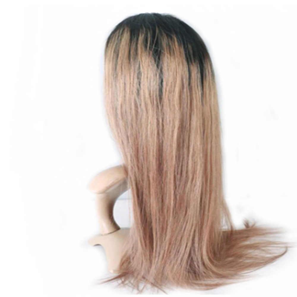 13x6 #1b/18 prosto koronki przodu wstępnie oskubane brazylijski ludzki włos peruki głęboka część Ombre popiołu włosy ludzkie w kolorze blond peruki z dziecięcymi włosami