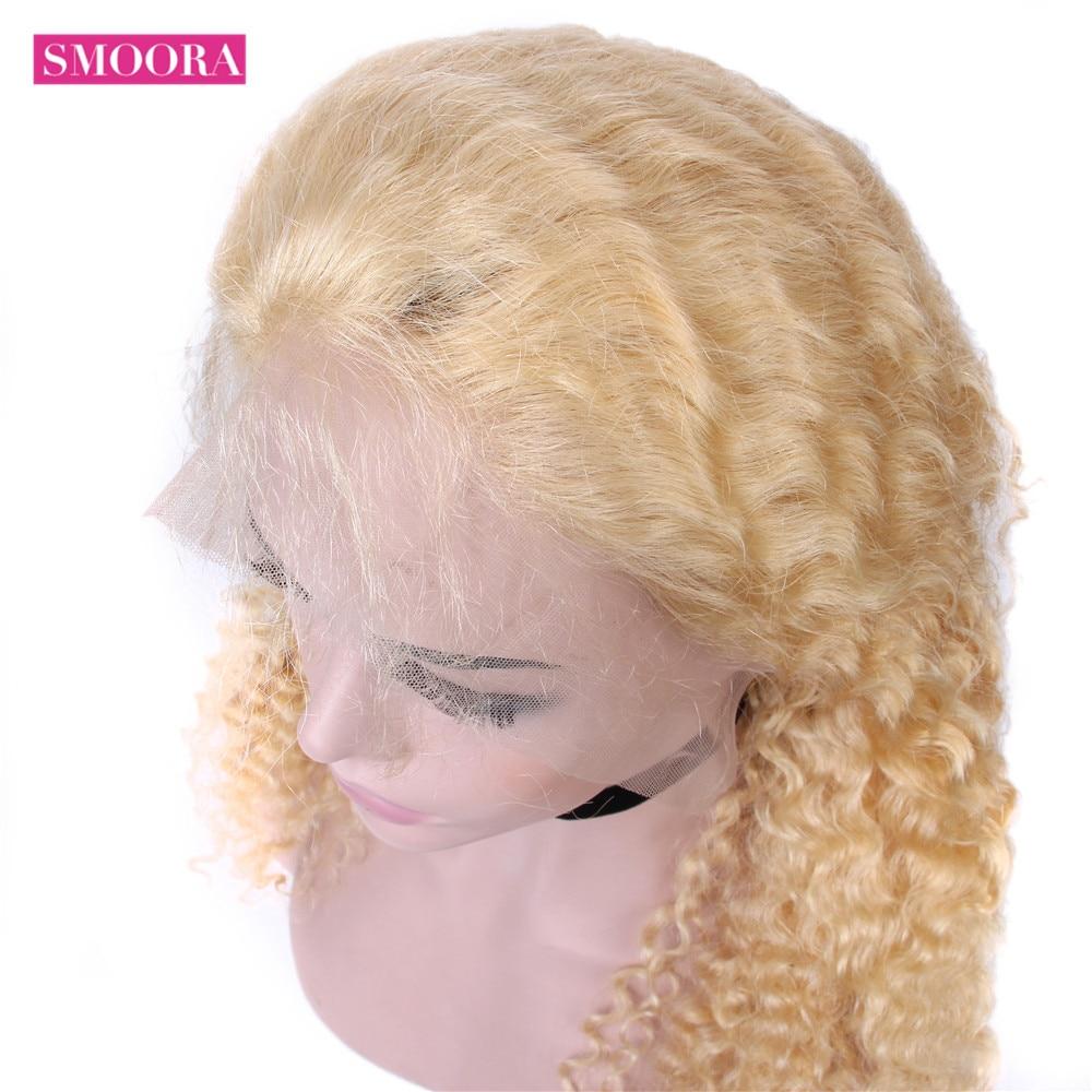 613 Deep Wave Lace Frontal Wigs   Glueless Deep Part 28 Inch Long Wigs 13*1 Light Blonde 150% 4