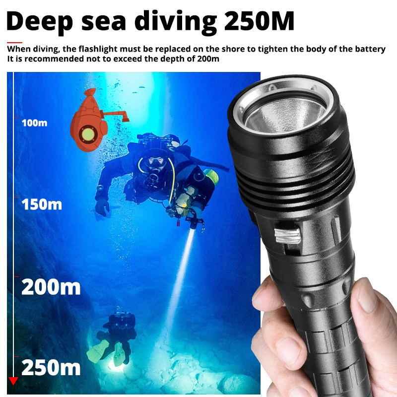XHP 50,2 Leistungsstarke LED Tauchen Taschenlampe Hellsten 30W XHP50 Unterwasser 250M Taschenlampe IPX8 Wasserdichte 3T6 Dive Lampe laterne
