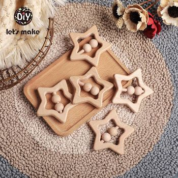 Lets Make 1PC Baby Toys Rattles Bpa Free Beech Wooden Ring Star Shape Wood Noise Teething Educational