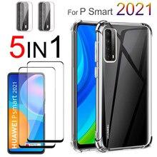360° proteção, 3~5 pçs protetora completa silicone capa Huawei P Smart 2021 pelicula vidro protetor 2020 2019 S Z capa anti choque PSmart 2021 capinha & película