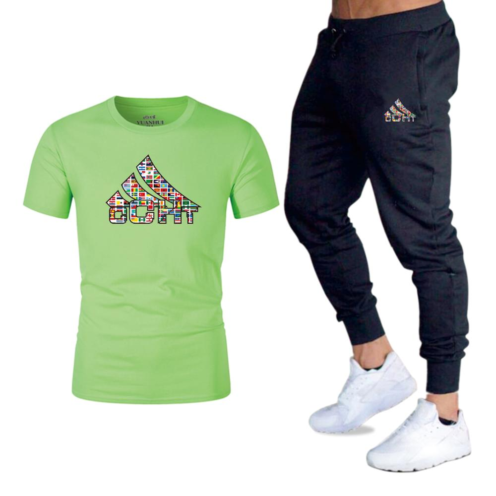 2020 Men's Short Sleeve Tights Sports Sportswear Set Two-Piece Training Suit Set Workout Jogging Tracksuit Sports