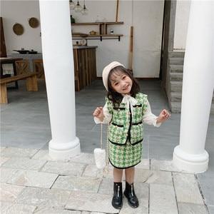 Image 4 - 2019 الخريف جديد وصول الكورية نمط مجموعة ملابس منقوشة سترة مع تنورة صغيرة أزياء الأميرة دعوى للفتيات طفل الحلو