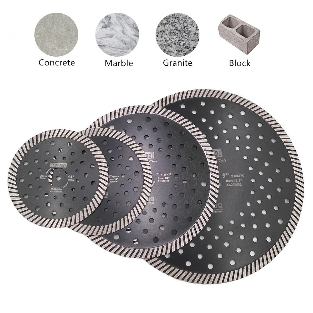 DT-DIATOOL 1pc Diamond Narrow Turbo Saw Blade Multi Holes Diamond Cutting Disc For Granite Marble Masonry Cutting Wheel