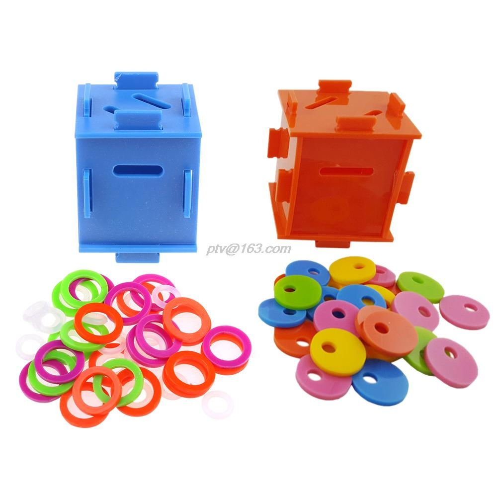 Bird Parrot Color Separation Coin Box Intelligence Develop Training Puzzle Toys for Macaw African Greys