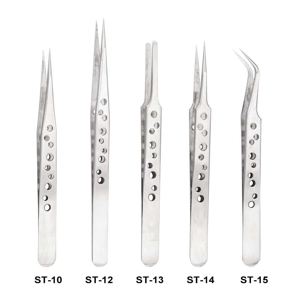 With Holes Tweezers Whlesale ST - 10 12 13 14 15 Silver Polished 201# Stainless Steel Tweezers Repair Tools 200pcs/lot