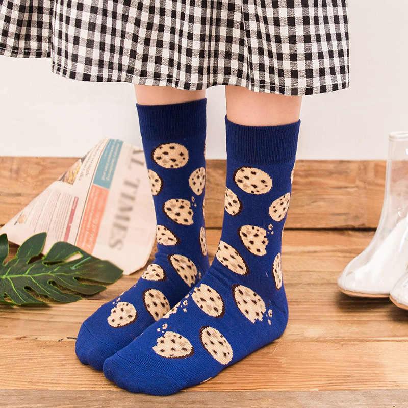 Женские носки забавный мультяшный Фрукты Банан авокадо лимонное яйцо печенье пончики еда японский Harajuku Хип Хоп хлопковые носки
