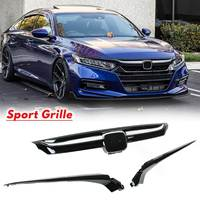W/ Chrome Garnish JDM Sport Style Glossy Black Front Grille Replacement Base For Honda For Accord 2018 2019 4 door Sedan