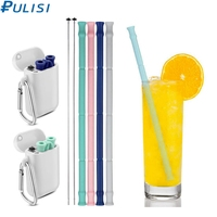 PULISI Faltbare Silikon Stroh mit Tragetasche und Reinigung Pinsel BPA Frei Wiederverwendbaren Trinken Stroh für Home Office Getränke auf