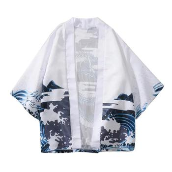 Casual Men Wave Dragon 3/4 Sleeve Open Front Kimono Yukata Cardigan Coat Shirt Fashion Men Short Sum