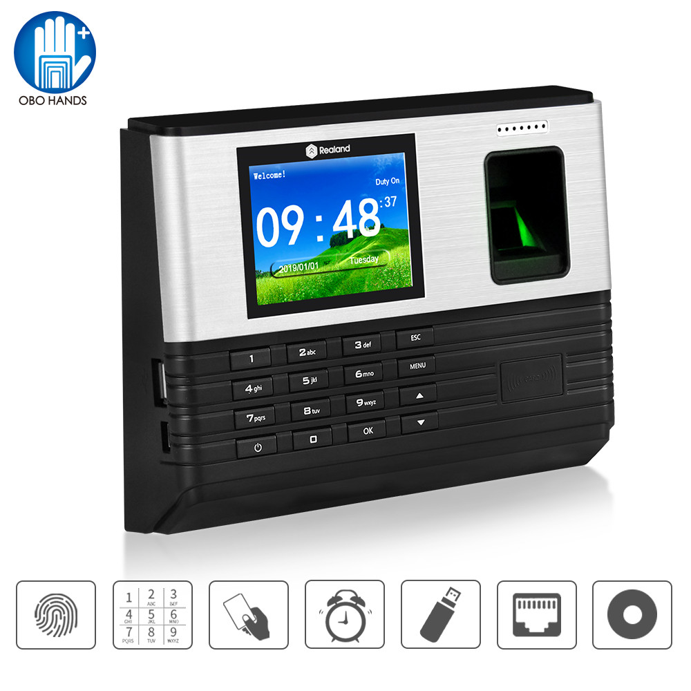 Realand 2.4inch TCP/IP/WIFI Biometric Fingerprint Attendance Machine RFID Employee Check-in System Time Clock Recorder Password