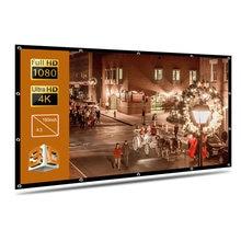 Proyector de pantalla de 60, 72, 84, 120, 150 pulgadas, cortina Simple, para casa, exterior, KTV, oficina, portátil, 3d, HD