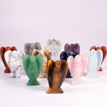 1pc pedra natural ametistas 2in anjo gem bolso guardião cura escultura decoração artesanato para decoração de casa