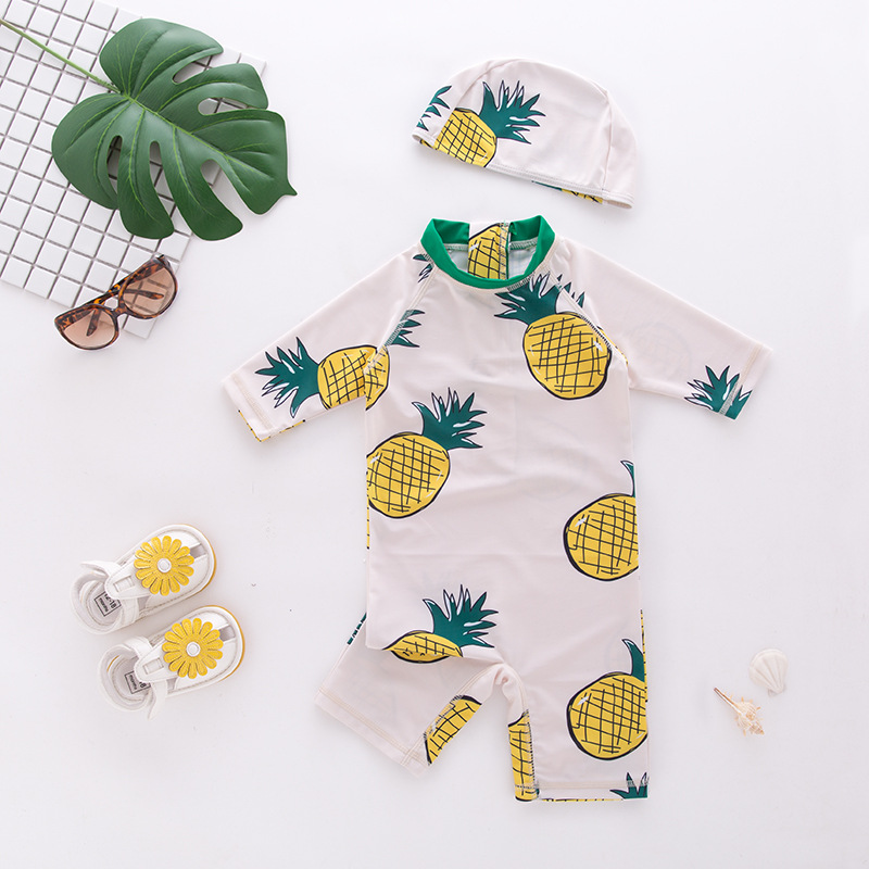 New Fruits Baby Girl Swimsuit Bathing Suits 2020 NEW Girls Boys Pineapple Swimwear Hat 2Piece For Kids Children Swimming Suit