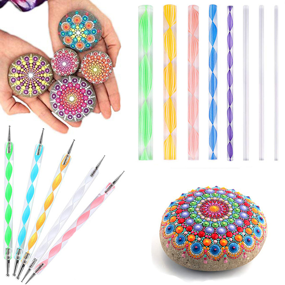 Mandala Dotting Tools Kit Rock Painting Stencils Stone Embossing Starter Drawing Stylus Pens Dotting Rods Kid Craft DIY Wall Art
