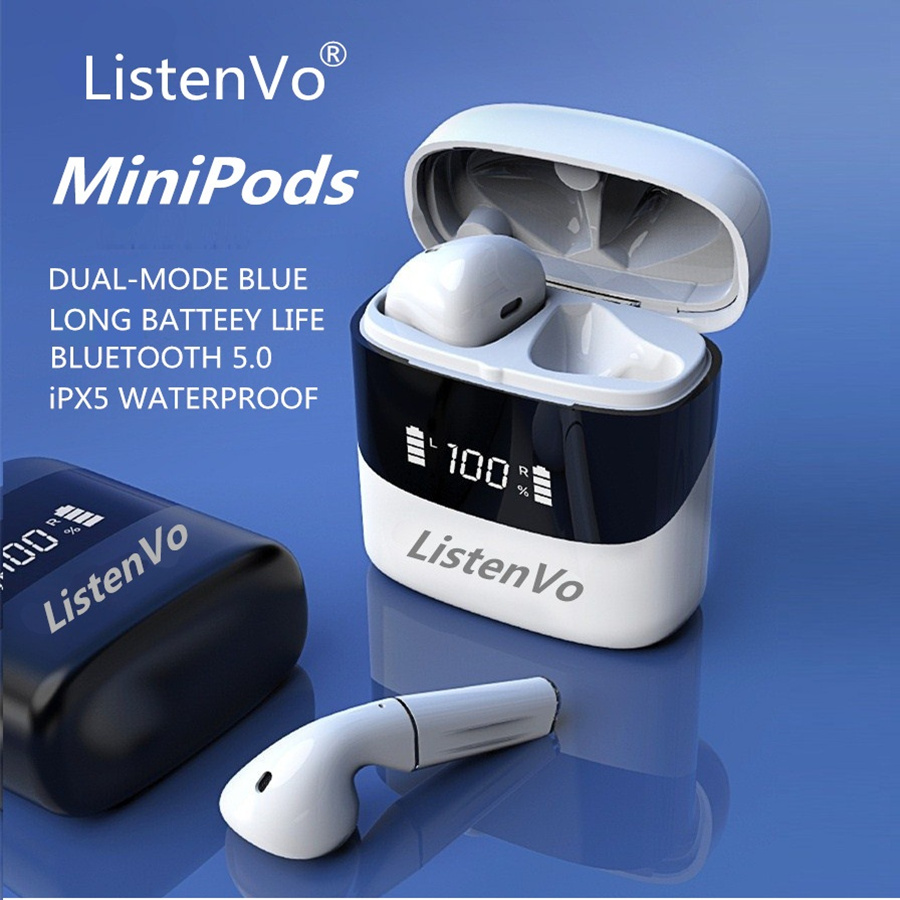 Listenvo miniPods TWS Wireless Headphones mini Bluetooth 5 0 headsets TWS 9D Stereo Waterproof Earbuds for android iphone