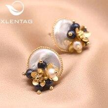 XlentAg Handmade Natural Baroque Flat Pearl Earrings For Women Wedding Party Flower Stud Earrings Lu
