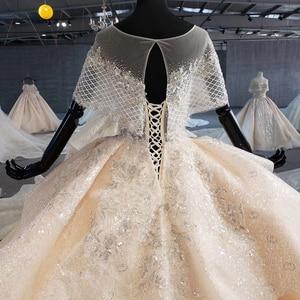 Image 5 - HTL1066 Peplum Kraal Parel Trouwjurken Applique Lace Up Back Vrouwen Jurk Bruiloft Glitter Свадебное Платье