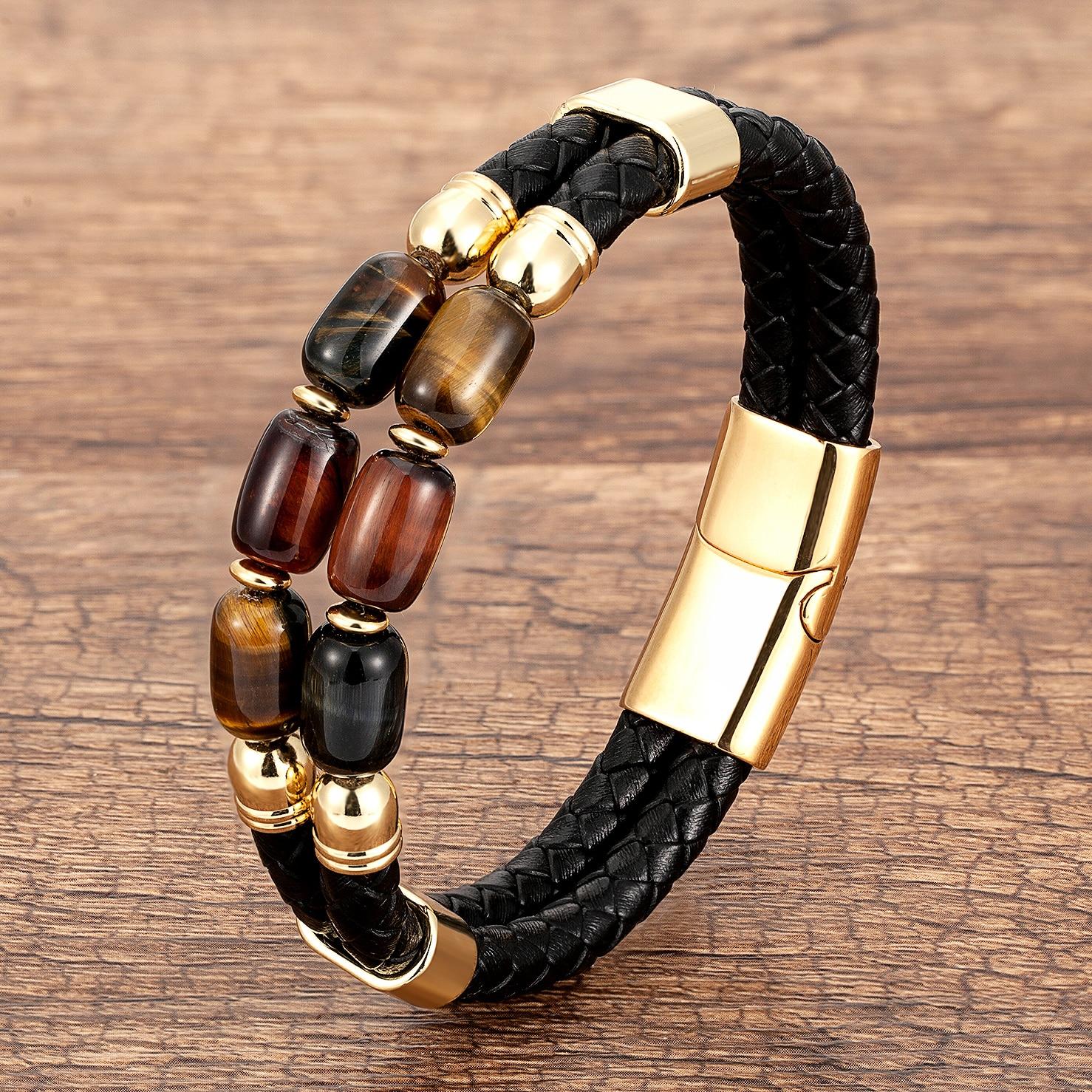 Natural Tiger Eye Bracelets For Men Multilayer Braided Leather Rope