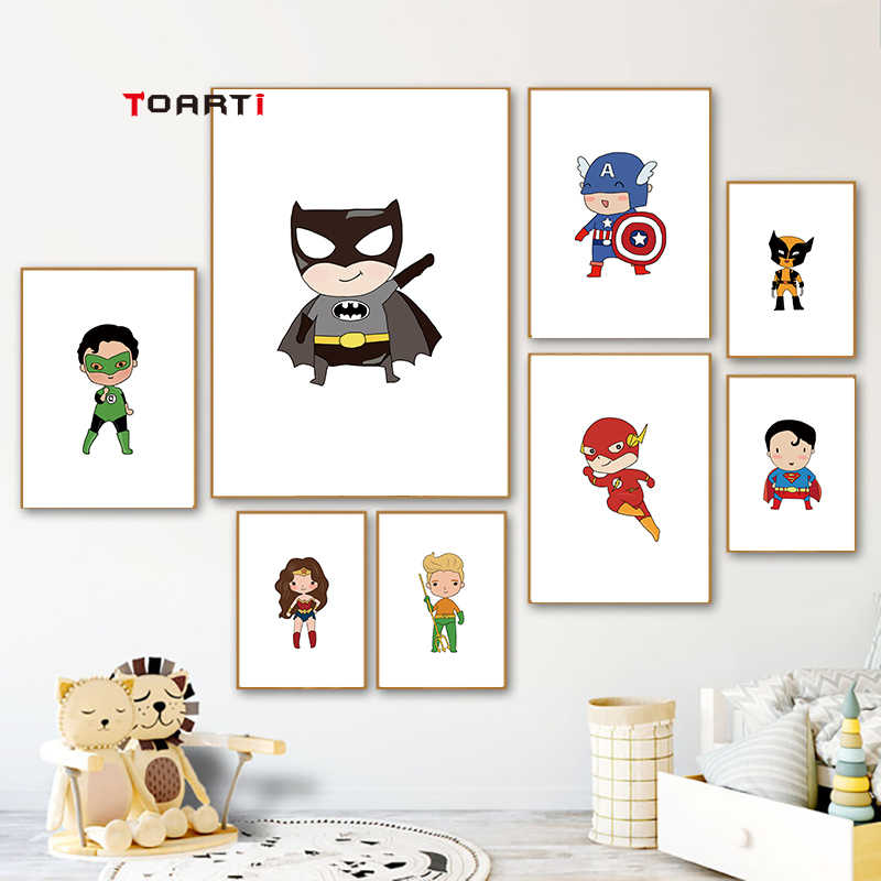 Cute cartoon poster&prints batman superheros captain canvas painting kids bedroom modern wall decor modular picture art murals