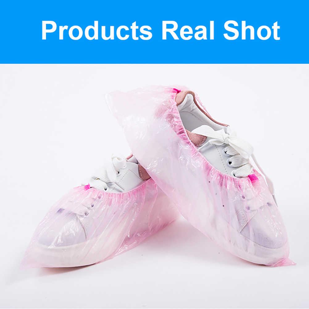 100Pcs Plastik Tahan Air Sepatu Sekali Pakai Mencakup Hari Hujan Karpet Lantai Pelindung Tebal Membersihkan Sepatu Overshoes