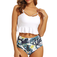 2020 Sexy High Waist Bikini Swimwear Women Ruffle Swimsuit Vintage Retro Bikini Set Plus Size Bathing Suits Summer Beachwear XL plus size print ruffle bikini set