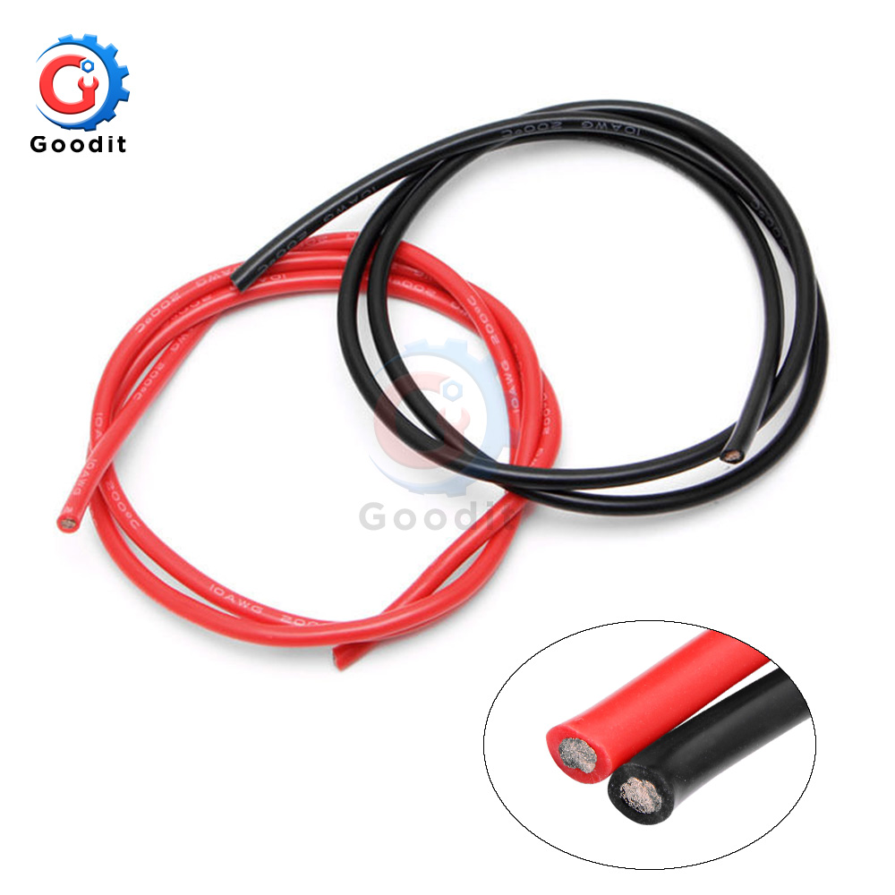 Flexible Silicone Copper Cables For RC Black+Red 2M 10//12//14//16 AWG Gauge Wire