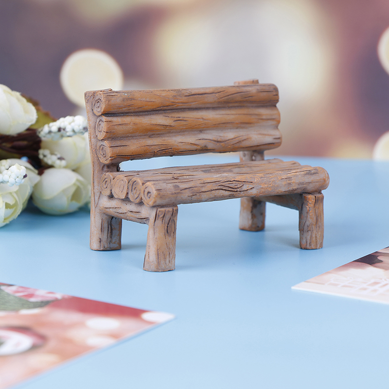 Mini Wooden Bench Dollhouse Furniture Chairs Seat Ornament Miniature Kids Toys