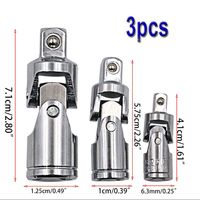 Adaptador de impacto do giro de 360 graus soquete comum universal 1/4 3/8 1/2 3 peças conjunto|Soquetes|Ferramenta -