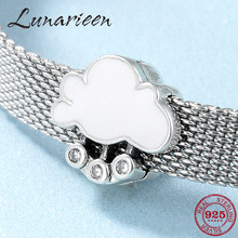 Neue 925 Sterling Silber Weiß cloud Emaille Clips perlen Fit Original Reflexions Armband charms Schmuck machen(China)