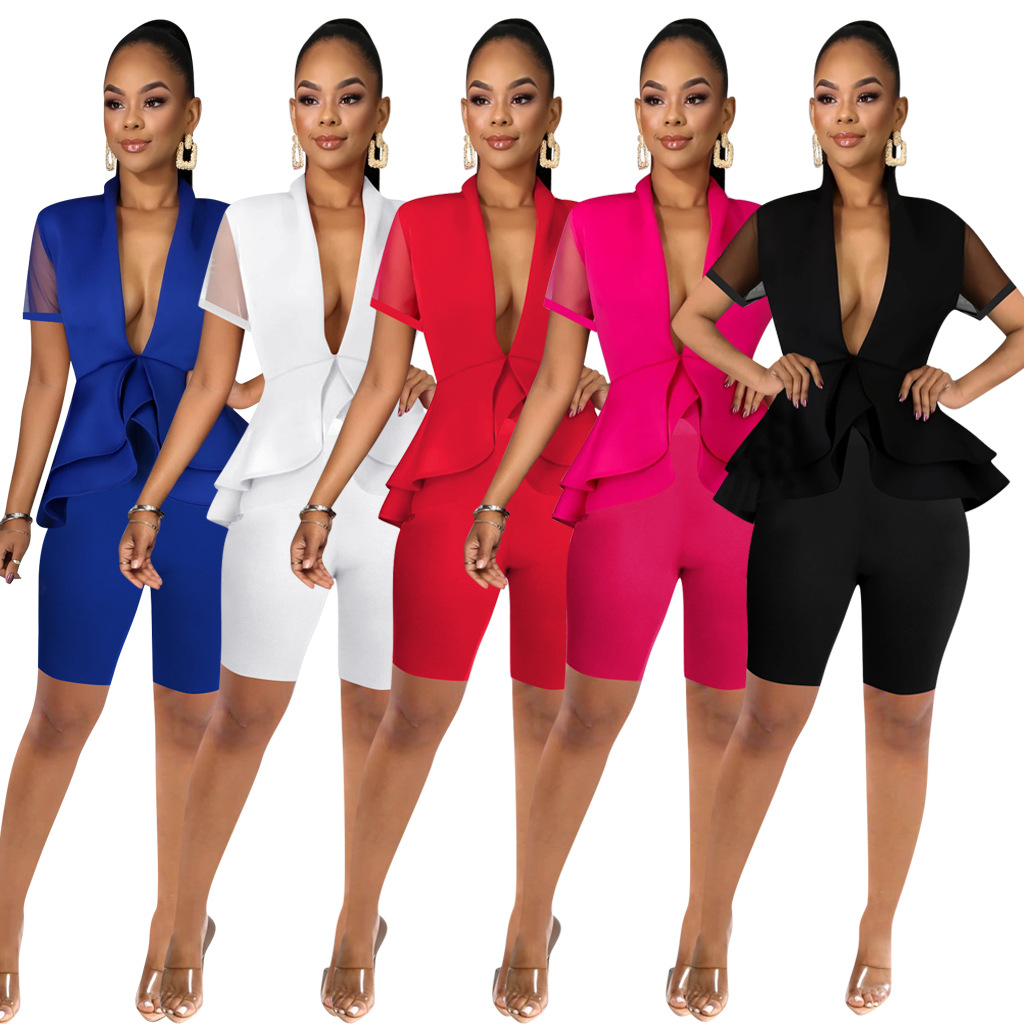 Summer 2 Piece Set Women Two Piece Set Top And Shorts Elegant Office Ladies Workwear Outfits Casual Tracksuit Plus Size