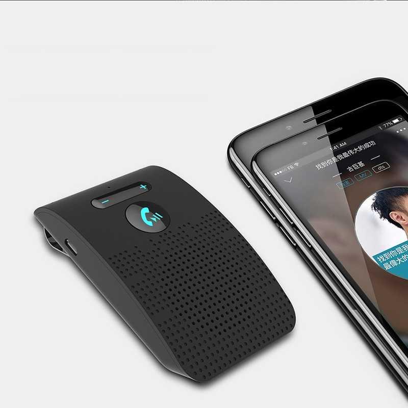 Bluetooth 5.0 ハンズフリーカーキットハイファイスピーカー 2 ワットワイヤレスオーディオレシーバーMP3 音楽プレーヤーのノイズキャンセル太陽バイザークリップ